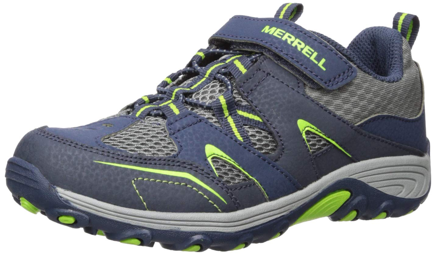 Merrell Boys' Trail Chaser Sneaker, Navy/Green,4.5 Wide US Big Kid