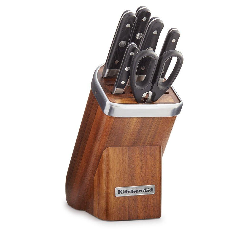 KitchenAid KKFMA07AA Professional Series 7 Piece Cutlery Set - Acacia Wood