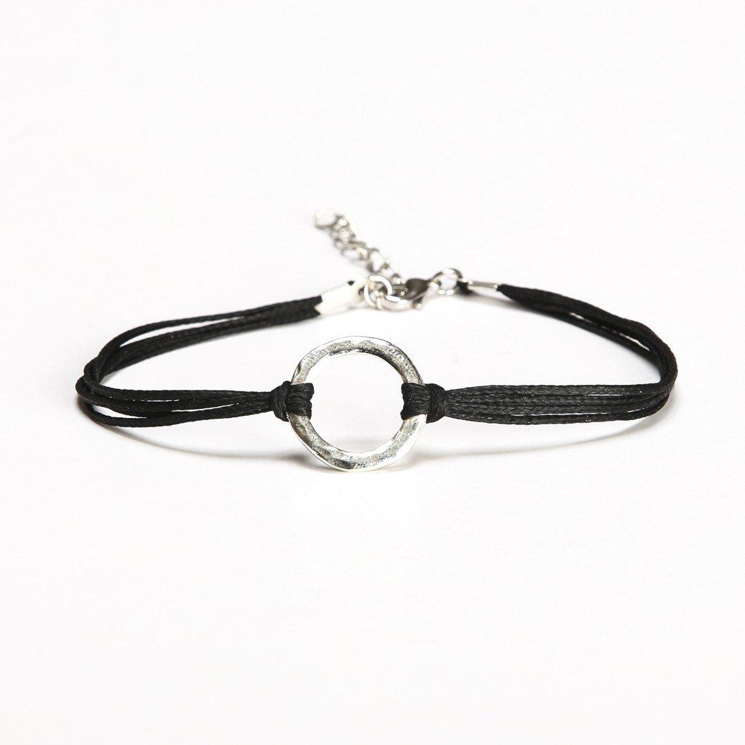 Karma bracelet, black cord bracelet with a silver circle charm, dainty minimalist jewelry, friendship bracelet, gift for her, spiritual