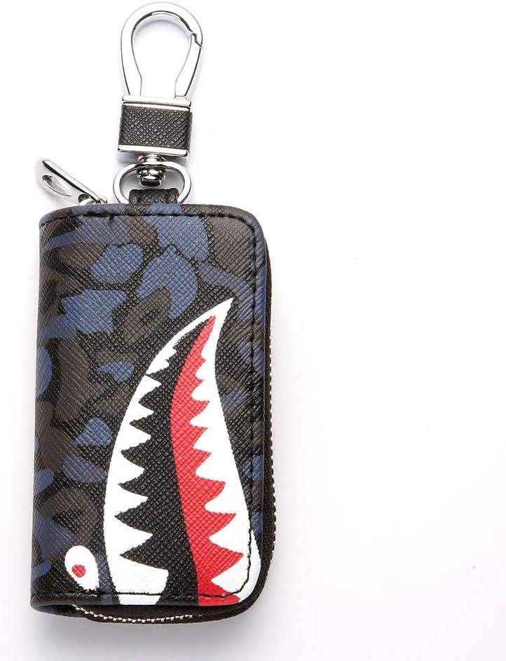 VSLIH car Key case Key fob Cover,Genuine Leather Key fob Holder for car Universal Key Bag Zipper Protective Cover Wallet Keychain