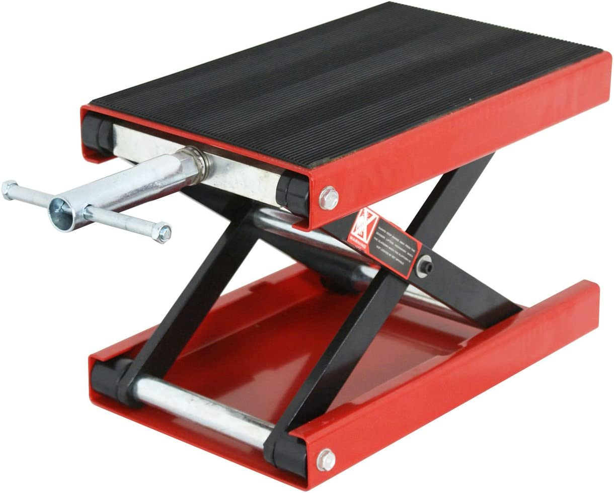 YITAMOTOR Wide Deck Motorcycle Dilated Center Scissor Lift Jack Hoist Stand-1100 LB Capacity