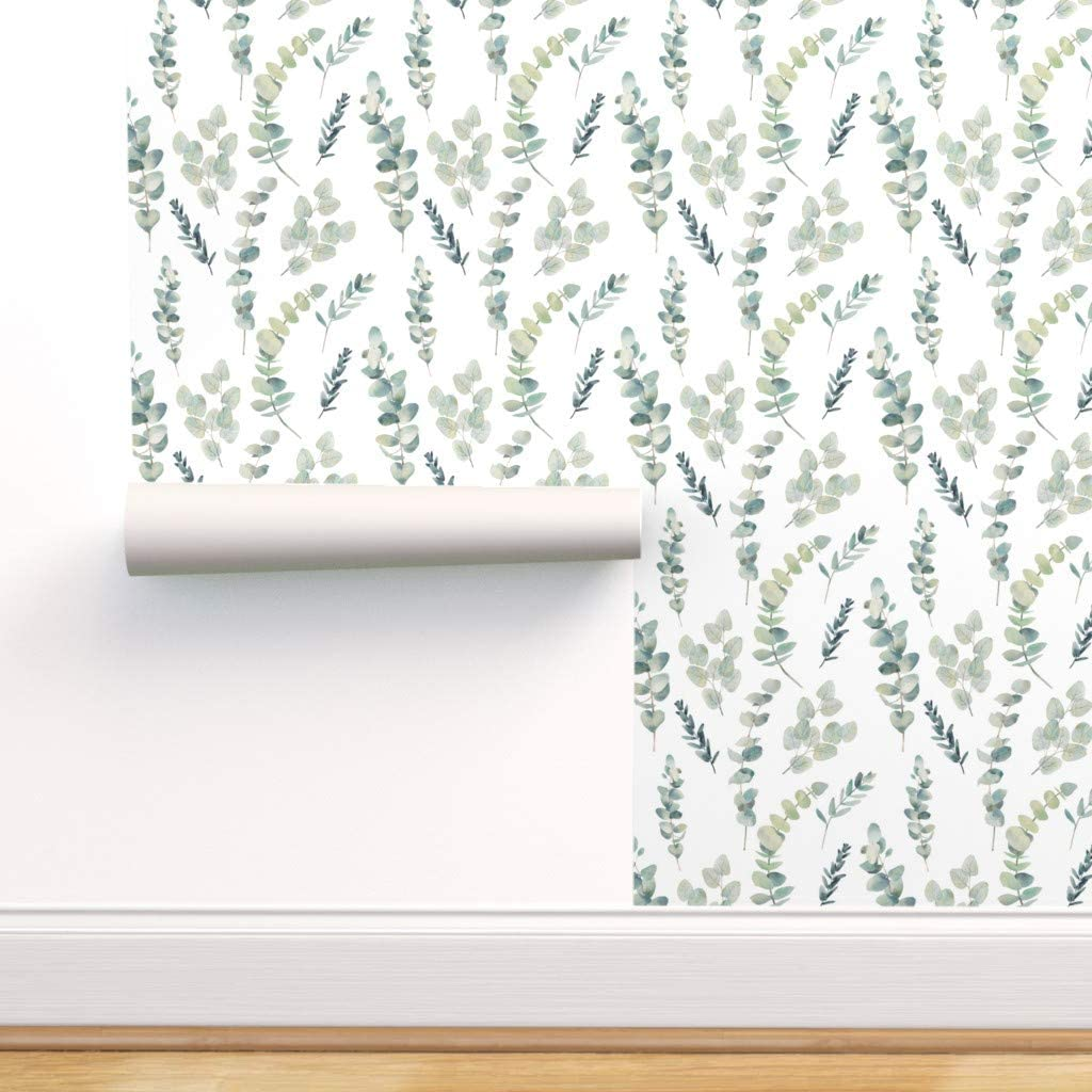 Spoonflower Peel And Stick Removable Wallpaper Eucalyptus Silver Dollar Greenery Floral Green Natural Wedding Print Self Adhesive Wallpaper 24in X 36in Roll Amazon Com