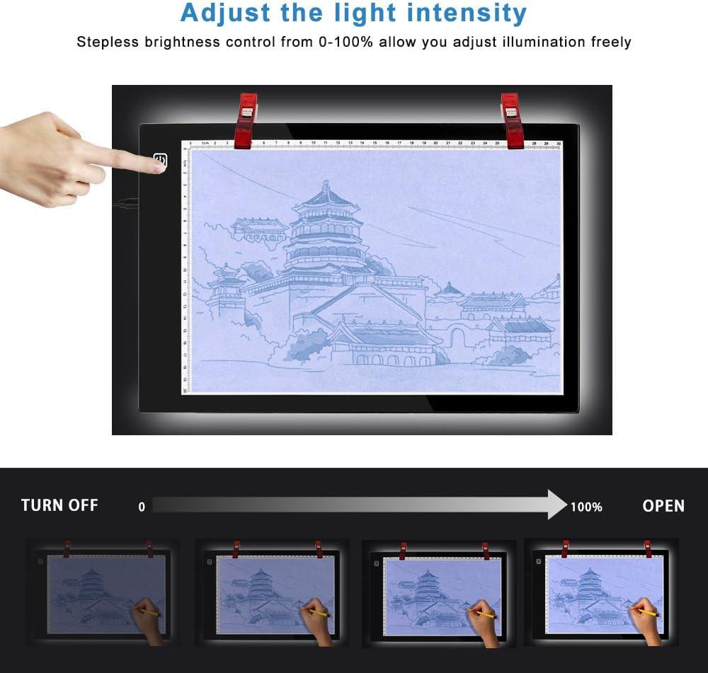 Led copie Board Animation Newnen Tracing lumi/ère Pad A4 LED Super mince Dessin copie Tracing lumi/ère avec luminosit/é r/églable et c/âble dalimentation USB pour artistes dessin