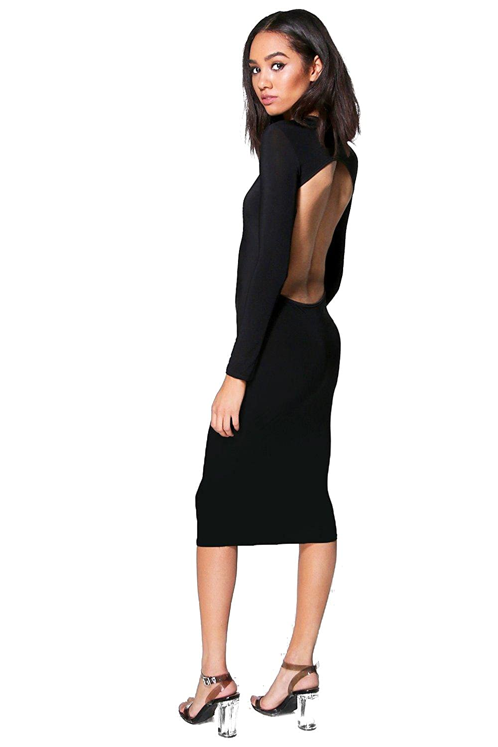 Black Womens Petite Georgia Long Sleeve Backless Midi Dress