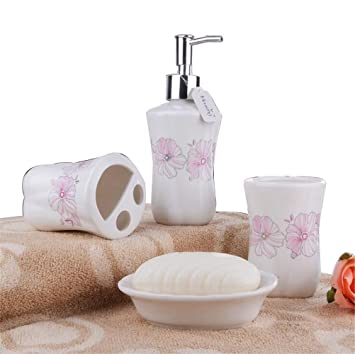 Amazon.com: JynXos Ceramic 4-Piece Pink Pastoral Cherry Blossom ...