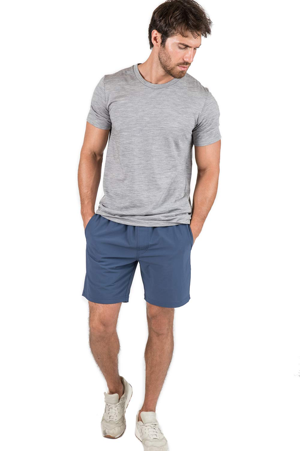 OLIVERS Apparel, Mens Water Repellent, 4-Way Stretch, All Over Short. Perfect for Running, Yoga, and Weightlifting (Small, Dark Indigo)