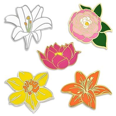 9aa0151e193 Amazon.com: PinMart Flower Enamel Lapel Pin Set -Peony Lotus Lily ...