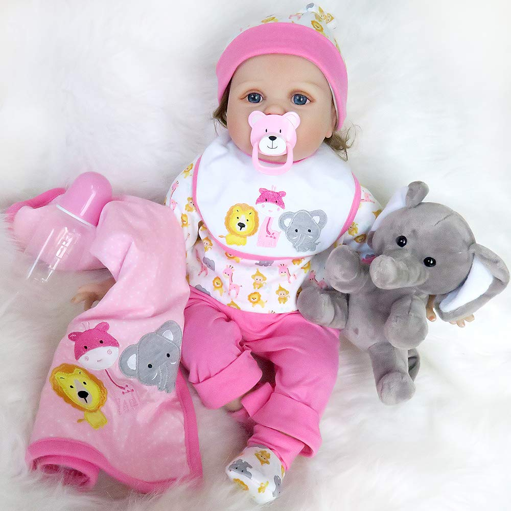 Seedollia Real Life Reborn Baby Doll Girl Cotton Body Pink Outfit 22 inch with Cute Toy Elephant Blanket
