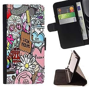 King Art - Premium-PU-Leder-Prima caja de la PU billetera de cuero con ranuras para tarjetas, efectivo Compartimiento desmontable y correa para la mu?eca FOR Sony Xperia Z3 D6653- Skull sugar Art Pattern