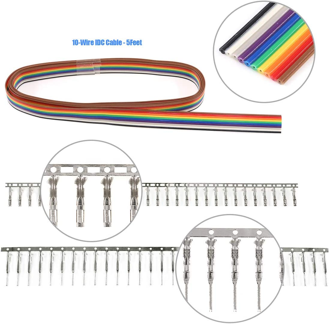 Glarks 635Pcs Connector Housing Male//Female Pin Connector 40 Pin 2.54mm Pitch Pin Headers and 10 Wire Rainbow Color Flat Ribbon IDC Wire Cable Compatible with Dupont Connector Assortment Kit