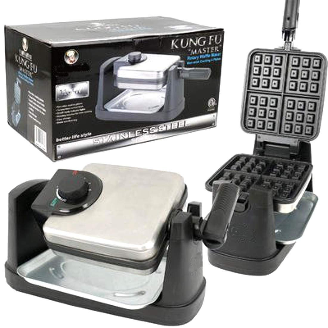 Professional Belgian Flip Side 4-Slice Waffle Maker Square style With Overflow Tray Adjustable Temperature - Stainless Steel & Nonstick Easy Cleanup