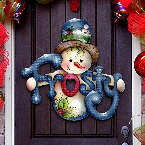 Amazon Com G Debrekht Christmas Frosty Snowman Wooden Decorative