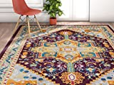 Balat Area Rug 7'10 x 10'6 Traditional Persian Colorful Design Mandala for Living, dining room, or playroom with bright tones For Sale