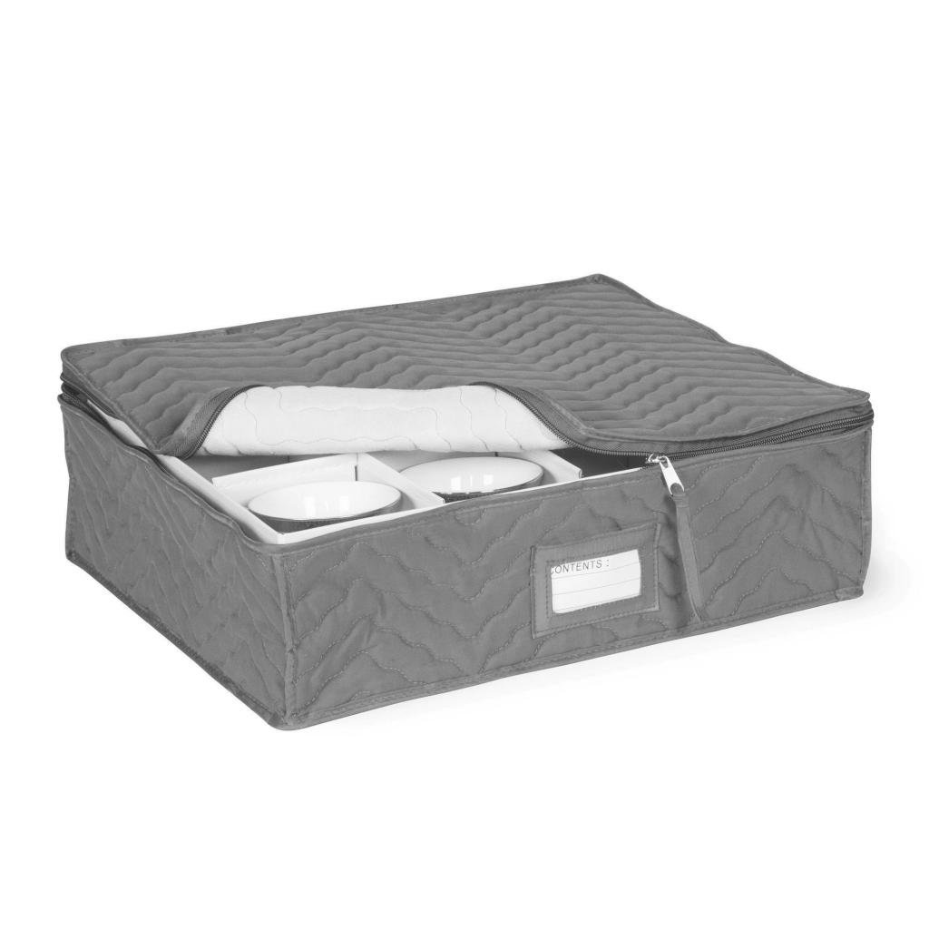 China Cup Storage Chest - Deluxe Quilted Microfiber (13''D x 15.5''W x 5''H) Charcoal