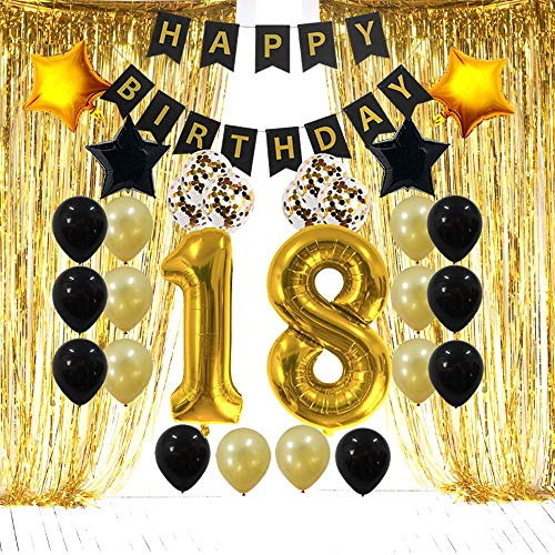- 18th Birthday Decorations Gifts for Her Him - 18 Birthday Party Supplies Happy Birthday Banner, Gold Foil Fringe Curtains, 18 Gold Number Balloons and Confetti Balloons