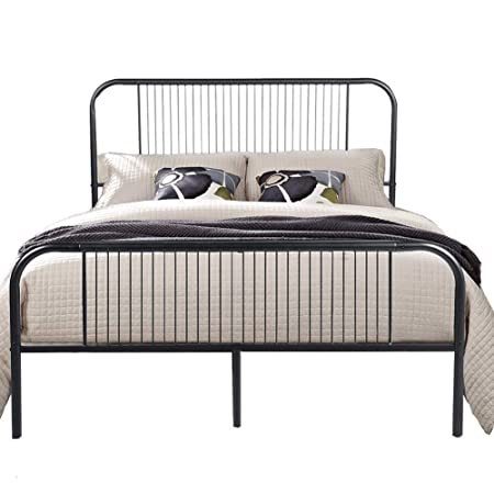 Aingoo Modern Double Bed Frame 4ft 6 Metal Bed With Headboard And