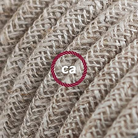 Creative-Cables Fil É lectrique Rond Gaine De Lin De Couleur Naturel Neutre RN01-1 mè tre, 2x0.75