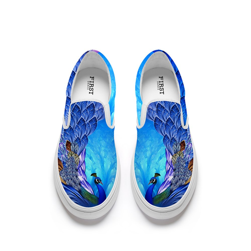 FIRST DANCE Funny Animal Prints Design Womens Casual Loafers Flats Personalized Fashion Canvas Shoes 8.5US
