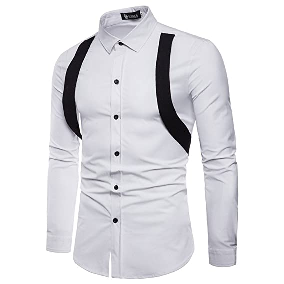 YanHoo Tendencia Mantener Caliente Delgado y Guapo Manga Larga para Hombre Oxford Trajes Formales Casuales Slim Fit tee Camisas de Vestir Blusa Top: ...