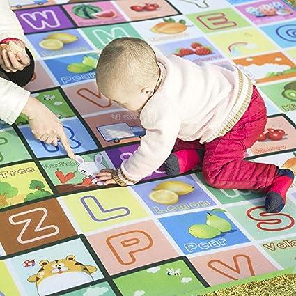 Homy – Alfombra parklon bebé gatear alfombra infantil jirafa grande impermeable espuma suave alfombra divertido y