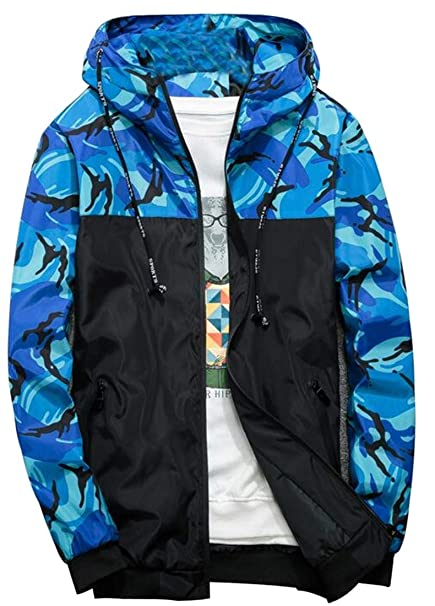 788de86ba Bloomyma Men Camouflage Casual Hoodie Zip Front Contrast Lightweight  Windbreaker Jacket Coat at Amazon Men's Clothing store: