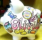 Hand Painted Personalized Sweet Tooth Candy Design Piggy Bank