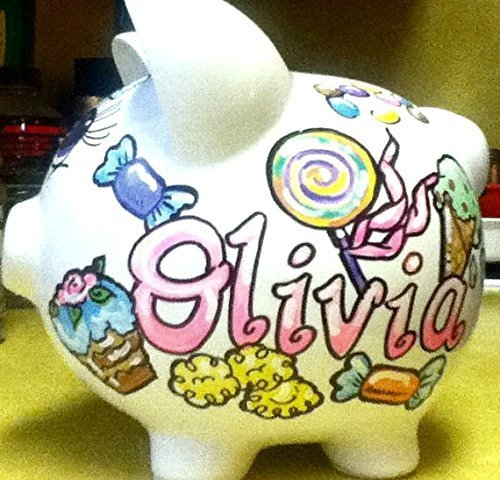 Hand Painted Personalized Sweet Tooth Candy Design Piggy Bank by Stymiepie Studios