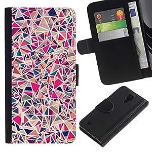 KingStore / Leather Etui en cuir / Samsung Galaxy S4 IV I9500 / Del modelo del azulejo de porcelana rosa