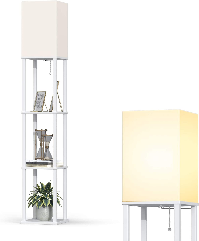 Addlon LED Modern Shelf Floor Lamp with White Lamp Shade and LED Bulb - Display Shelves Floor Lamps for Living Room Bedroom and Office - White