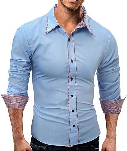 Oudan - Camisa de Manga Larga para Hombre (Color Azul Cielo ...