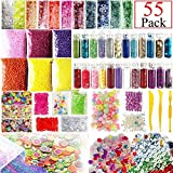 Slime Supplies Kit, 55 Pack Slime Beads Charms, Include Fishbowl Beads, Foam Balls, Glitter Jars, Fruit Flower Animal Slices, Pearls, Slime Tools for DIY Craft Slime Making,Gilrs Slime Party