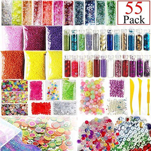 Slime Supplies Kit, 55 Pack Slime Beads Charms, Include Fishbowl Beads, Foam Balls, Glitter Jars, Fruit Flower Animal Slices, Pearls, Slime Tools for DIY Craft Slime Making,Gilrs Slime Party by Xixiw