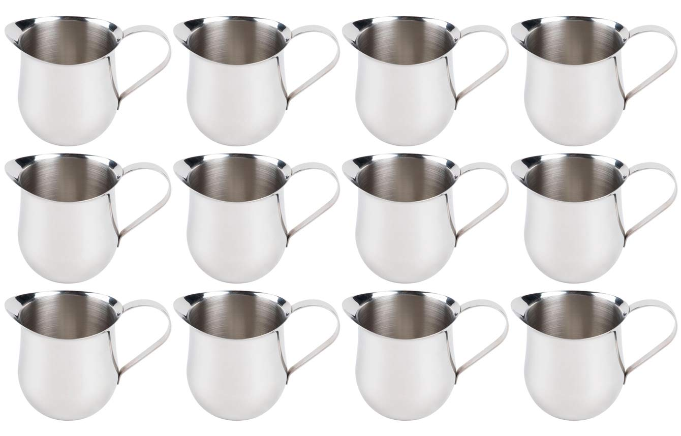 (12 Pack) 5-Ounce Stainless Steel Bell Creamer, 150 ml. Coffee Creamer Pitcher/Bell-Shaped Serving Cream Pitcher, Commercial Quality Bell Pitchers by Tezzorio