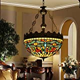 Makenier Vintage Tiffany Style Stained Glass Dragonfly Inverted Ceiling Pendant Lamp Fixture - 16 Inches Lampshade