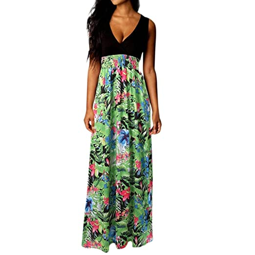e3baeb4209d WM   MW Women Summer Floral Printed Sexy Deep V-Neck Sleeveless Boho Beach  Long Sundress Cocktail Party Maxi Dress at Amazon Women s Clothing store