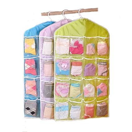 16 bolsillos claros para colgar armario organizador calcetines zapatos juguetes ropa interior calzoncillos joyería bolsa de