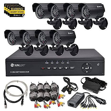 SUNLUXY® 8CH H 264 CCTV DVR Video Recorder Home Security System 8x 600TVL  Indoor Outdoor Surveillance Cameras Kit IR Day Night Vision