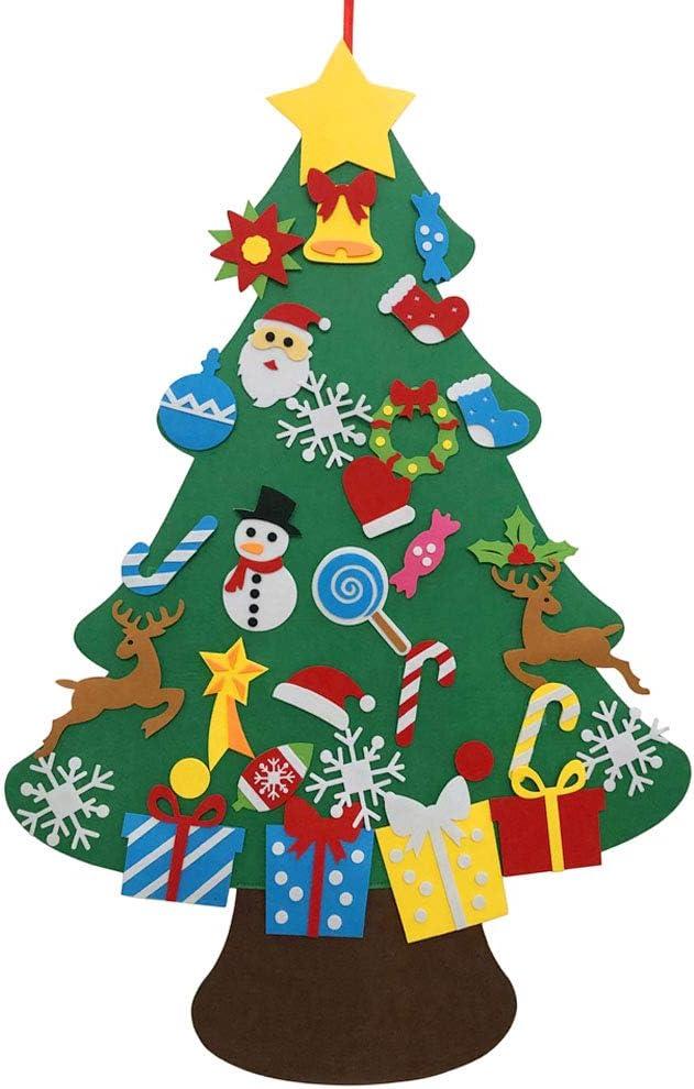 Autiy Kids DIY Felt Christmas Tree Set Wall Hanging Detachable Ornaments 26pcs Xmas Gifts Children Friendly Christmas Home Decorations 3.1FT (32Pcs Christmas)