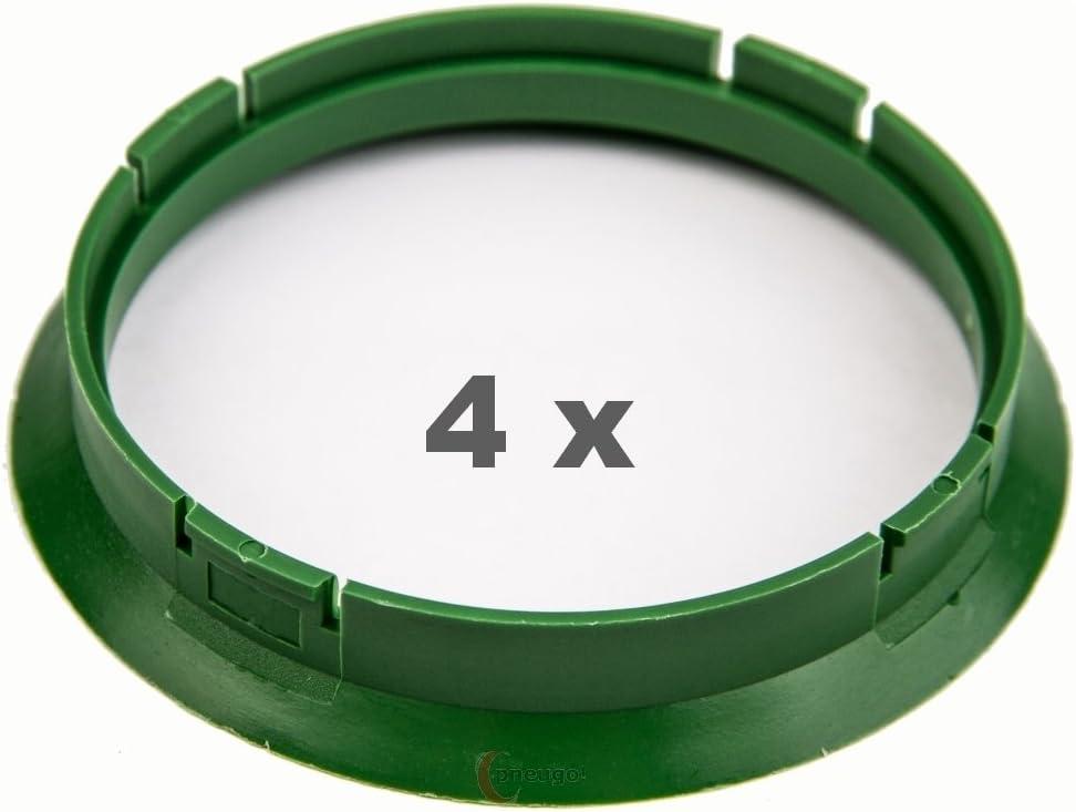 4 X anelli di centraggio 72.5 su 67.1 verde//verde.
