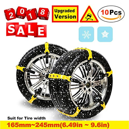 Snow Chain, Anti-Skid Chains Emergency Anti-Slip Tire Belting Straps Cable Traction Wire for Car/SUV Winter Tyres Wheels Aid Autocross Outdoor in Snow Ice Mud Situation (Regular size Snow Chains)