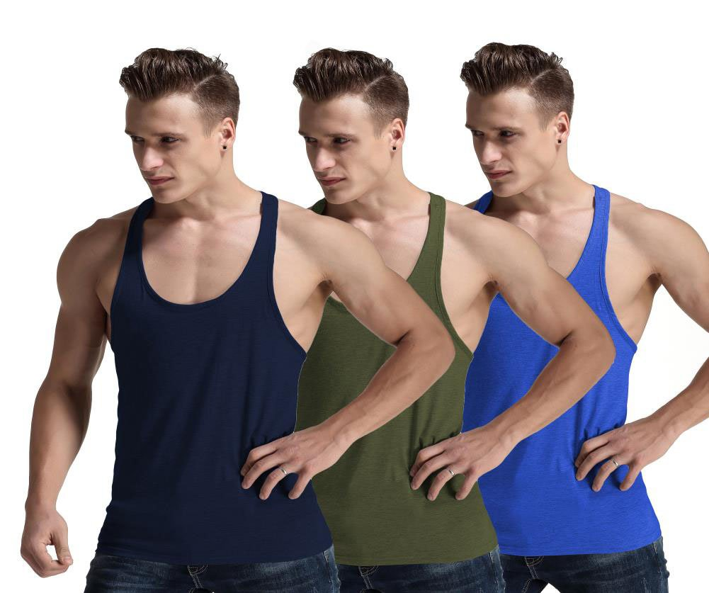 Men Fashion Blank Stringer Y Back Cotton Gym Sleeveless Shirts Tank Top (S, 3Pcs Navy/Blue/ArmyGreen)