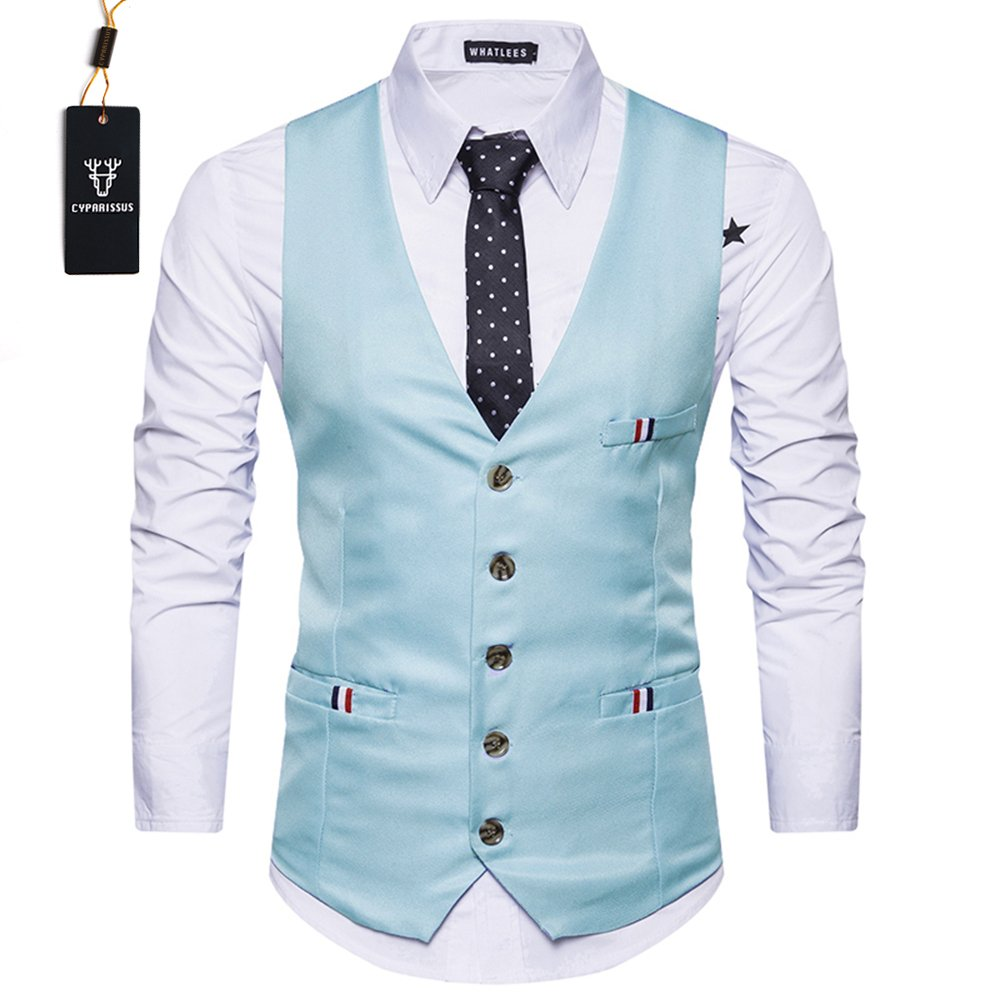 Cyparissus Men's Business Dress Vest?Formal Suit Vest Button Down Vest Waistcoat for Suit Or Tuxedo (M, Light Blue)