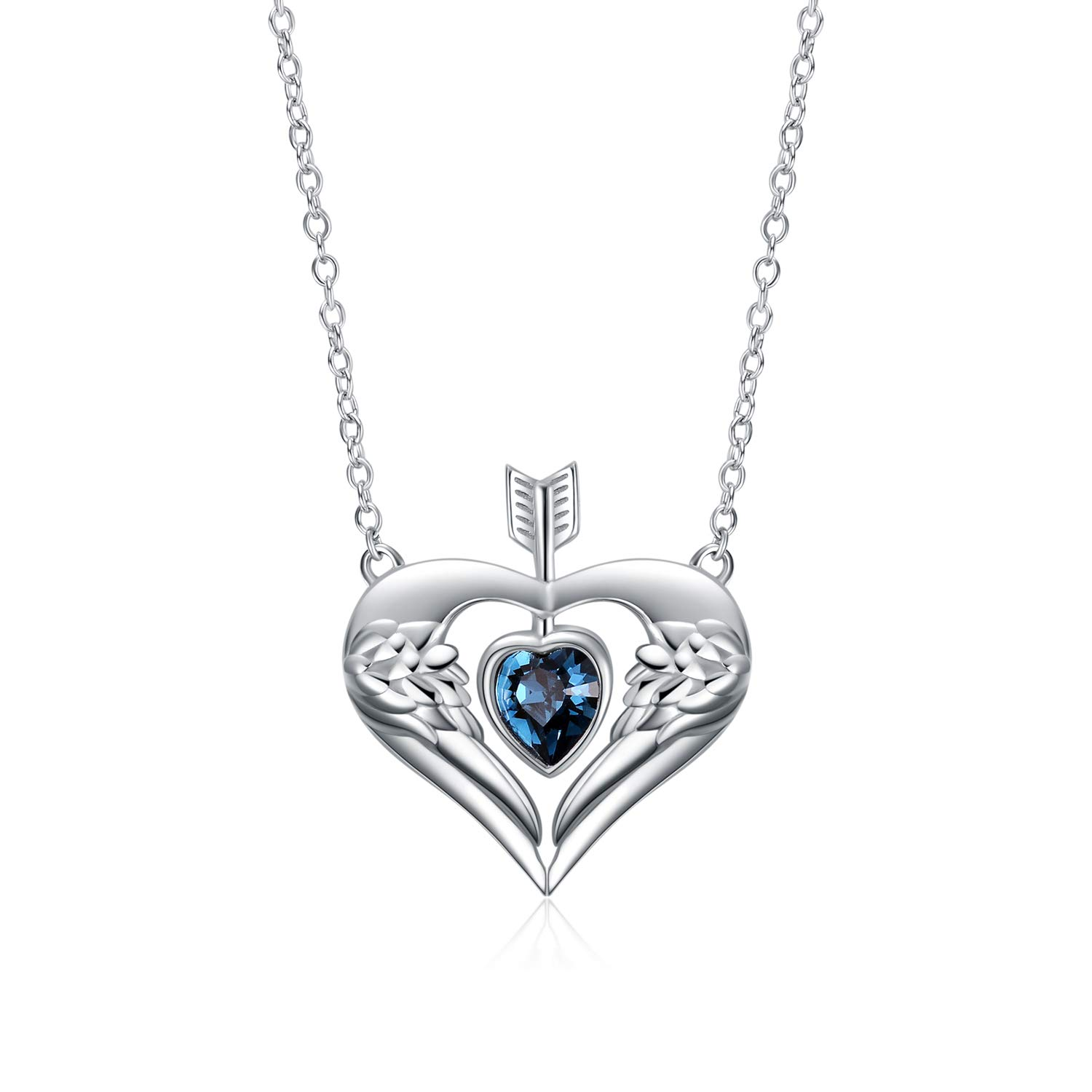 YFN Sterling Silver Guardian Angel Wings Simulated Turquoise Pendant Necklace Jewelry for Women Girls Gifts (Love Angel Wing Necklace) by YFN