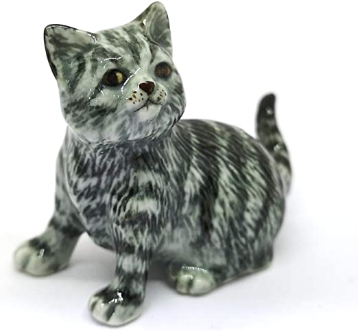 Tiny Grey//White Striped Cat Dollhouse Miniature Ceramic Animal Figurines