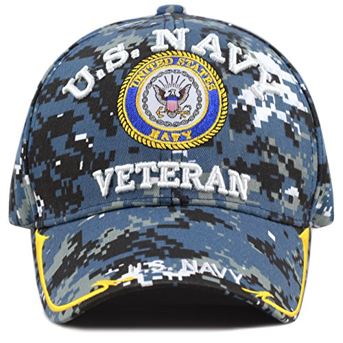 THE HAT DEPOT Military Licensed 3D Embroidered Veteran Baseball Cap (Blue Digi Camo-Navy) ()
