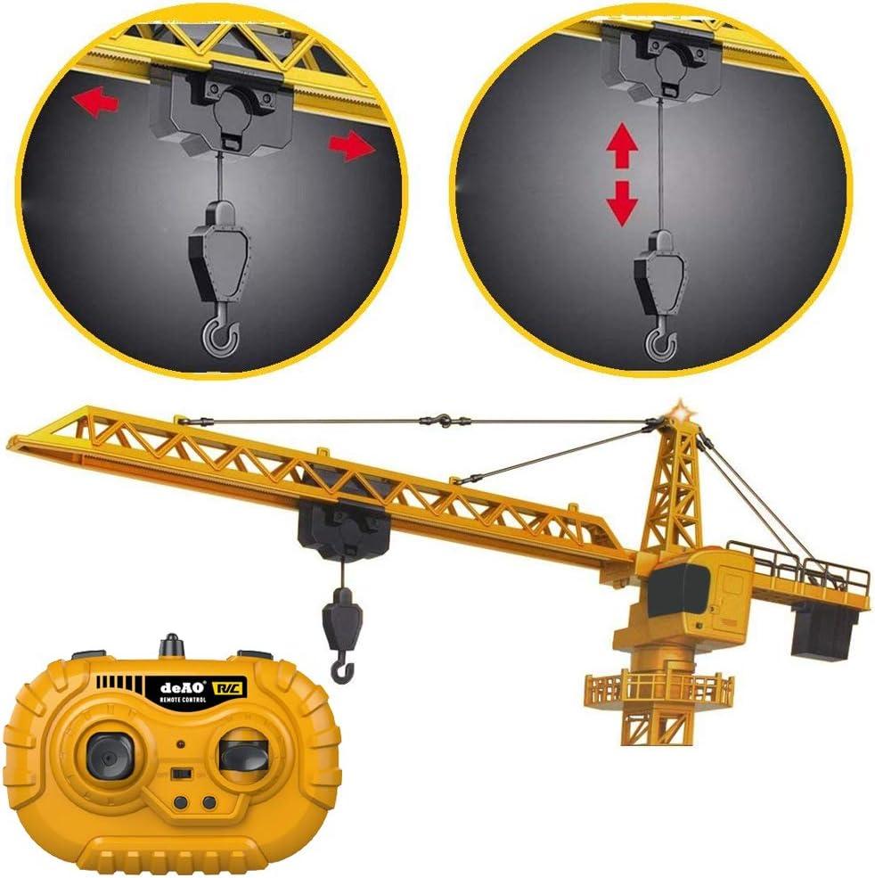 deAO Remote Control 122cm Die Cast Crane with 12 Channels Lights /& Sounds