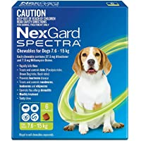 NexGard Spectra for Dogs 7.6-15kg - Flea, Tick & Worm Chewable Tablet - 3 Pack