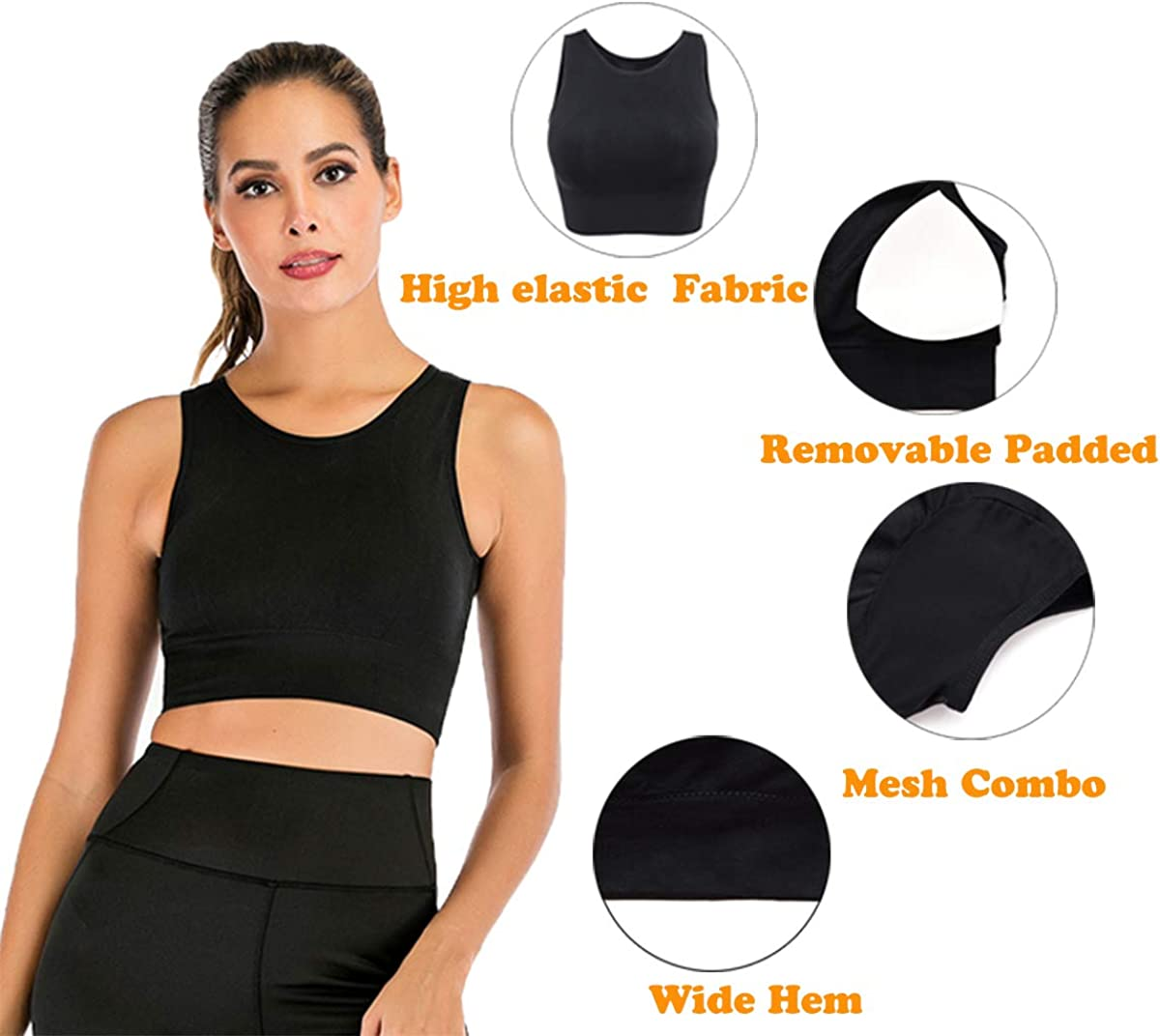 Sports Bra for Women Longline Yoga Workout Bra Racerback Vest Running Gym Activewear