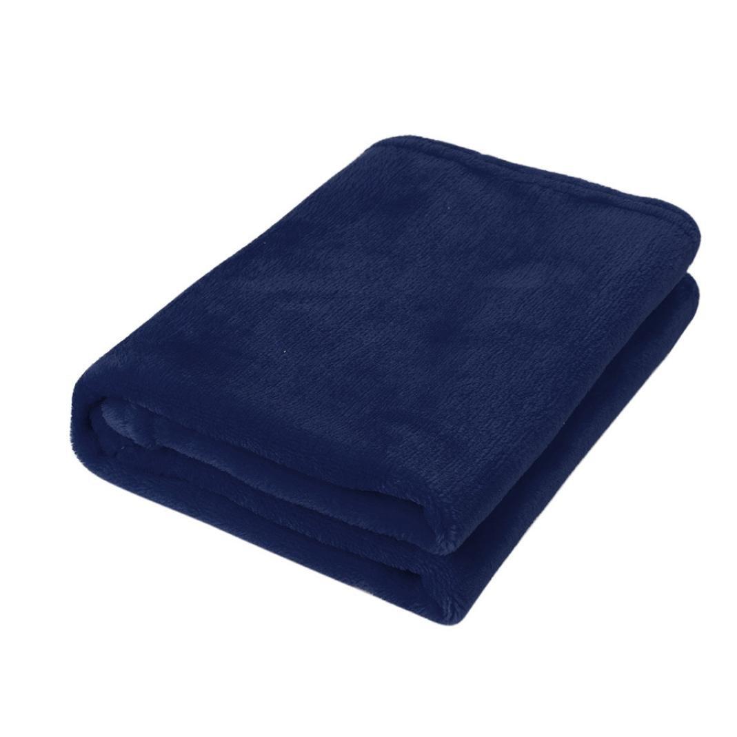 Cozy Premium Super Soft Flannel Kids Throw Blanket,20''x28'' Solid Warm Coral Plaid Blankets (Blue)