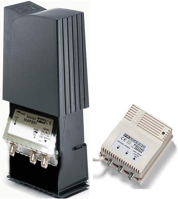Kit preamplificador 2 entradas 34 db + alimentación 2 salidas Fracarro map201klte